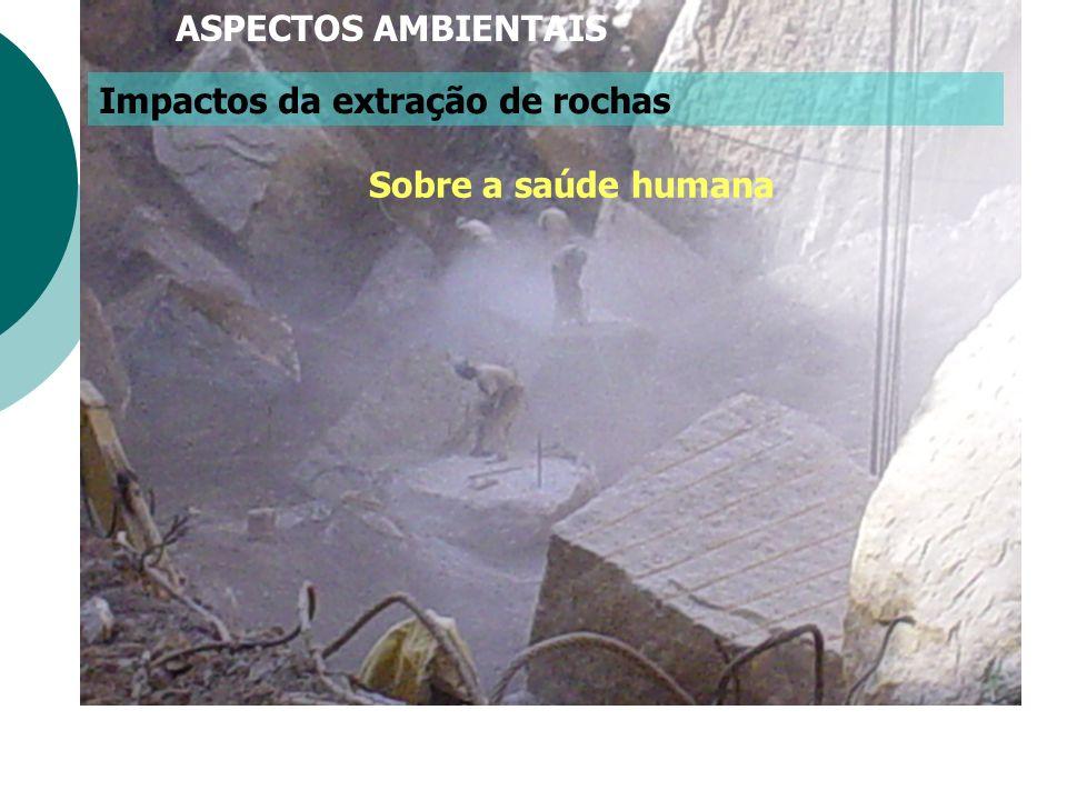 ASPECTOS AMBIENTAIS Impactos da extração de rochas Sobre a saúde humana