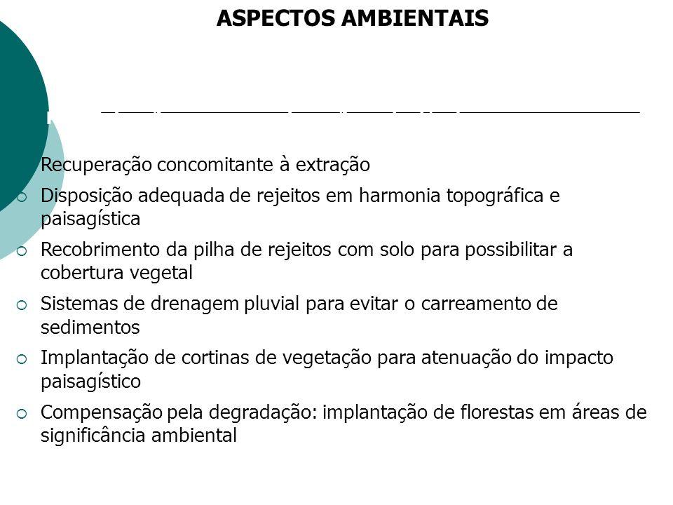 ASPECTOS AMBIENTAIS Recuperação concomitante à extração