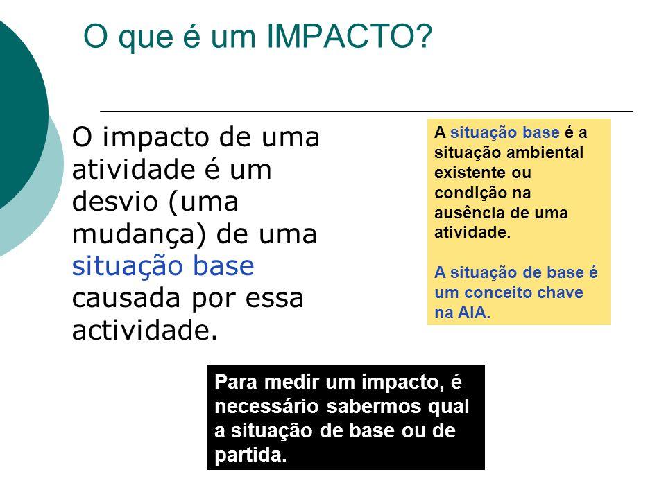 O que é um IMPACTO O impacto de uma atividade é um desvio (uma mudança) de uma situação base causada por essa actividade.