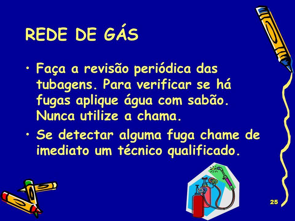 REDE DE GÁS Faça a revisão periódica das tubagens. Para verificar se há fugas aplique água com sabão. Nunca utilize a chama.