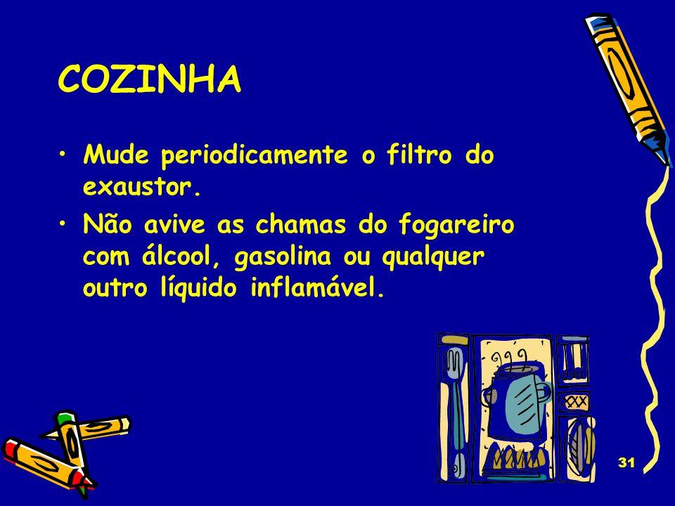 COZINHA Mude periodicamente o filtro do exaustor.