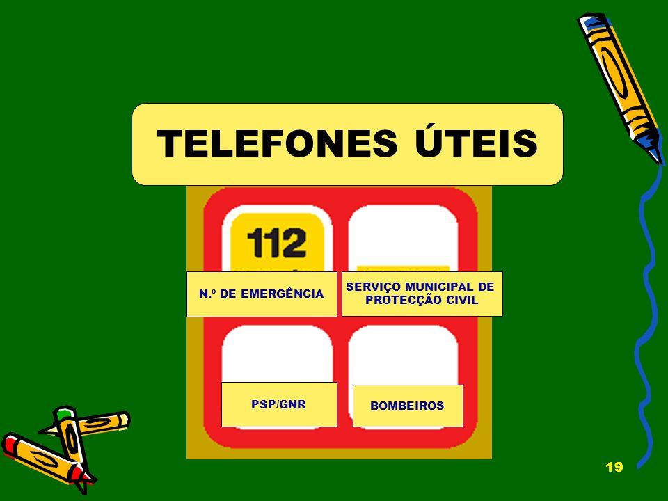 TELEFONES ÚTEIS SERVIÇO MUNICIPAL DE N.º DE EMERGÊNCIA PROTECÇÃO CIVIL