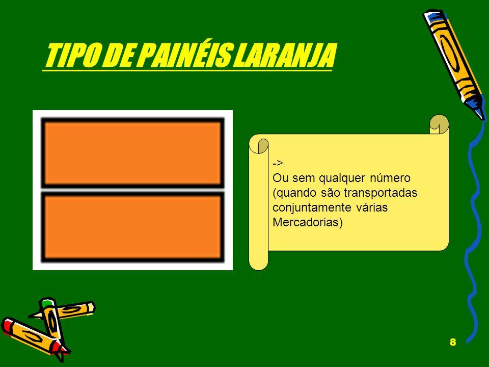 TIPO DE PAINÉIS LARANJA