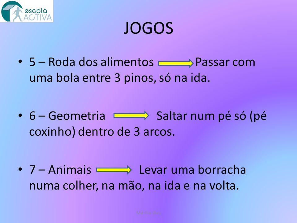 JOGOS 5 – Roda dos alimentos Passar com uma bola entre 3 pinos, só na ida.