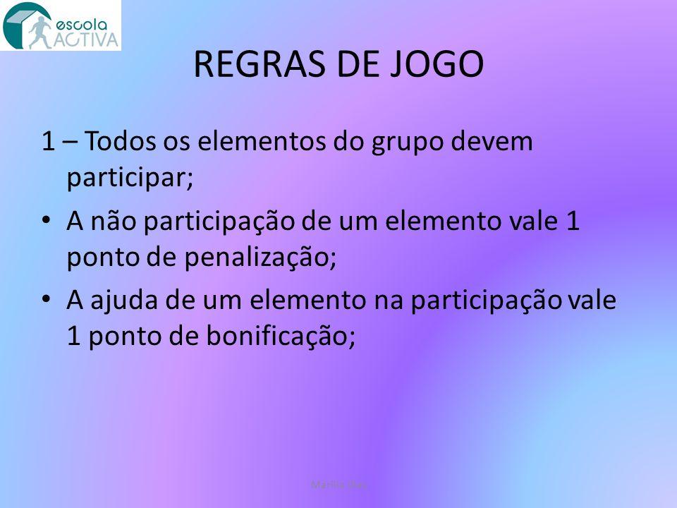 REGRAS DE JOGO 1 – Todos os elementos do grupo devem participar;