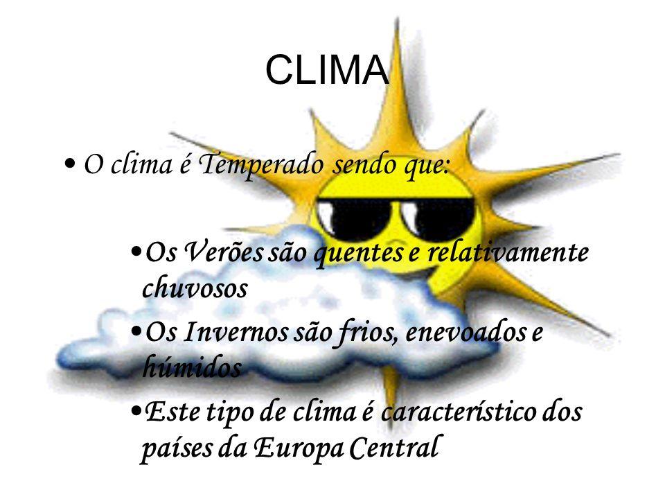 CLIMA O clima é Temperado sendo que: