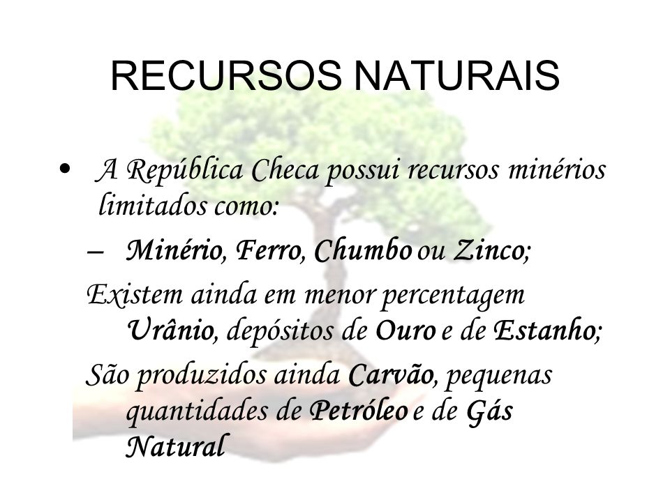 RECURSOS NATURAIS A República Checa possui recursos minérios limitados como: Minério, Ferro, Chumbo ou Zinco;