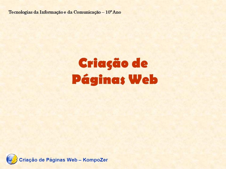 Criação de Páginas Web Criação de Páginas Web – KompoZer