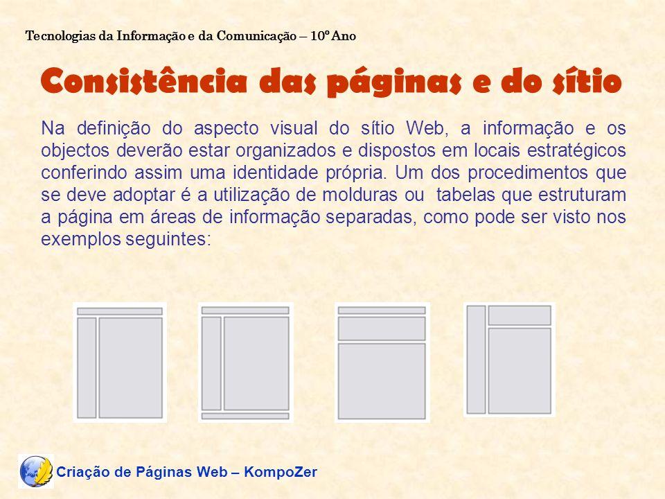 Consistência das páginas e do sítio