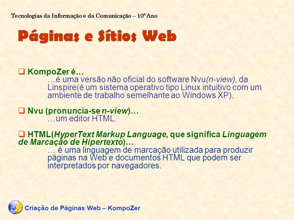Páginas e Sítios Web KompoZer é…