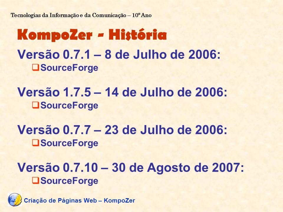 KompoZer - História Versão 0.7.1 – 8 de Julho de 2006: