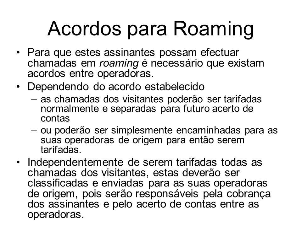 Acordos para Roaming Para que estes assinantes possam efectuar chamadas em roaming é necessário que existam acordos entre operadoras.