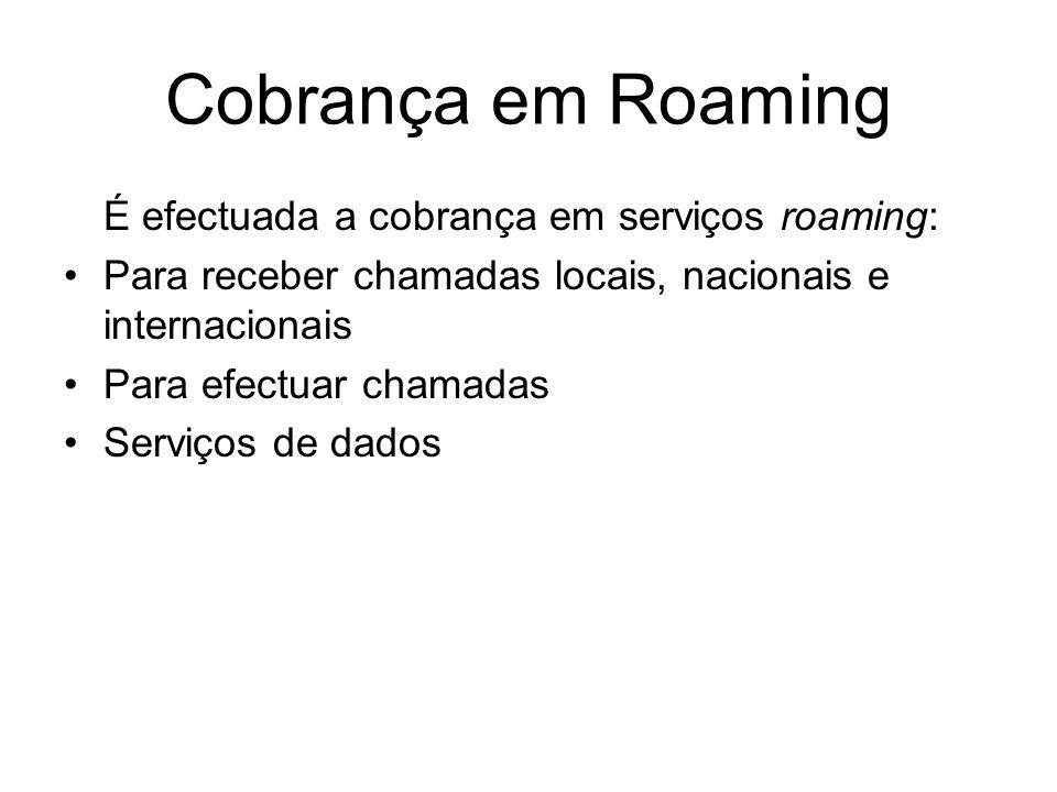 Cobrança em Roaming É efectuada a cobrança em serviços roaming: