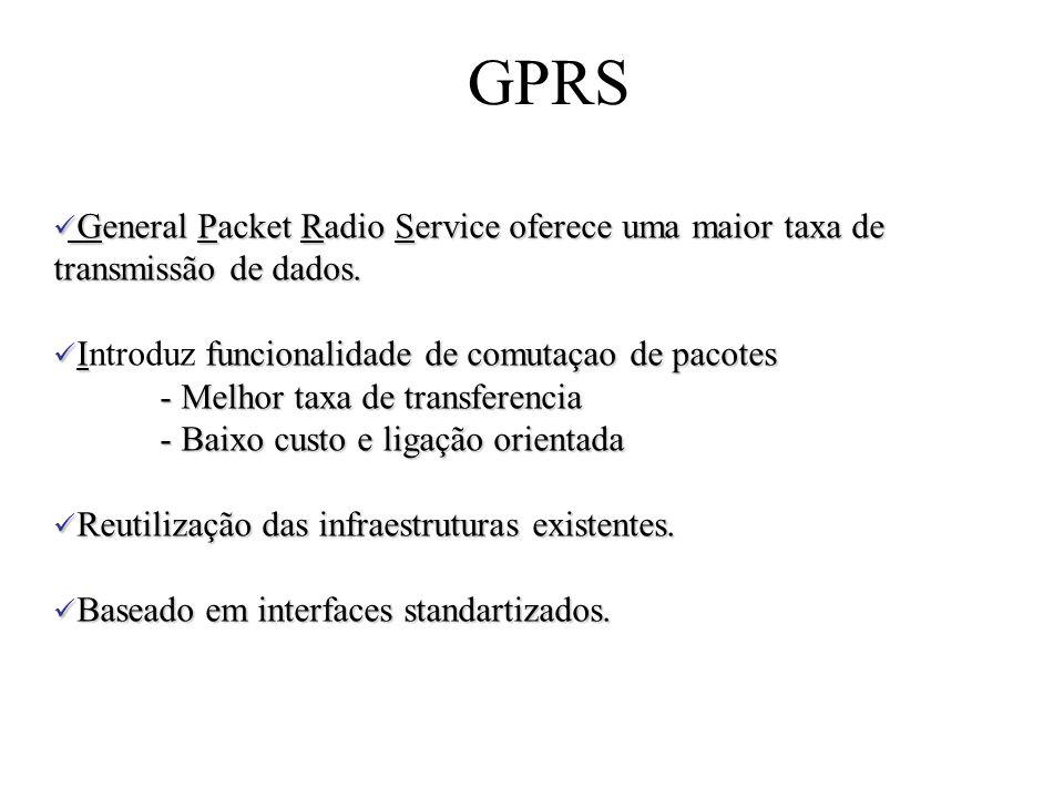GPRS General Packet Radio Service oferece uma maior taxa de transmissão de dados. Introduz funcionalidade de comutaçao de pacotes.