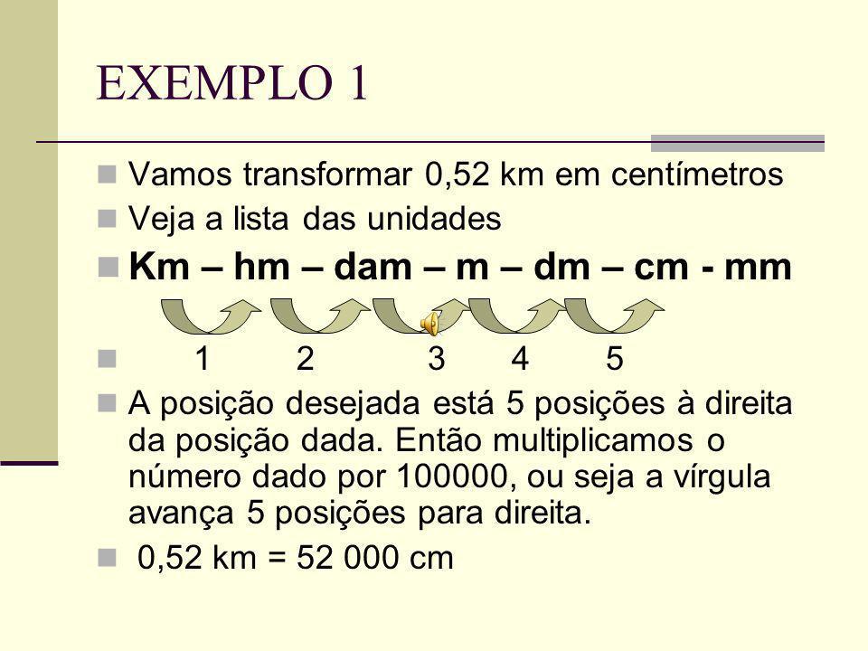EXEMPLO 1 Km – hm – dam – m – dm – cm - mm