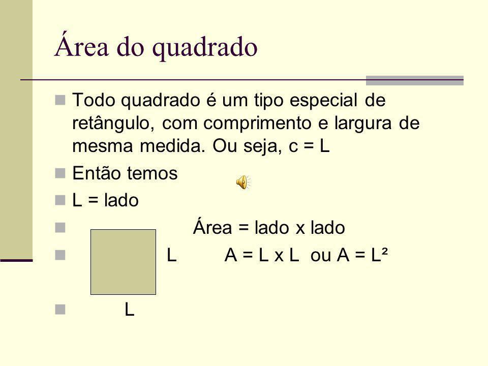 Área do quadrado Todo quadrado é um tipo especial de retângulo, com comprimento e largura de mesma medida. Ou seja, c = L.
