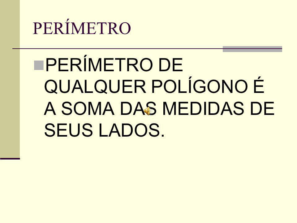 PERÍMETRO DE QUALQUER POLÍGONO É A SOMA DAS MEDIDAS DE SEUS LADOS.