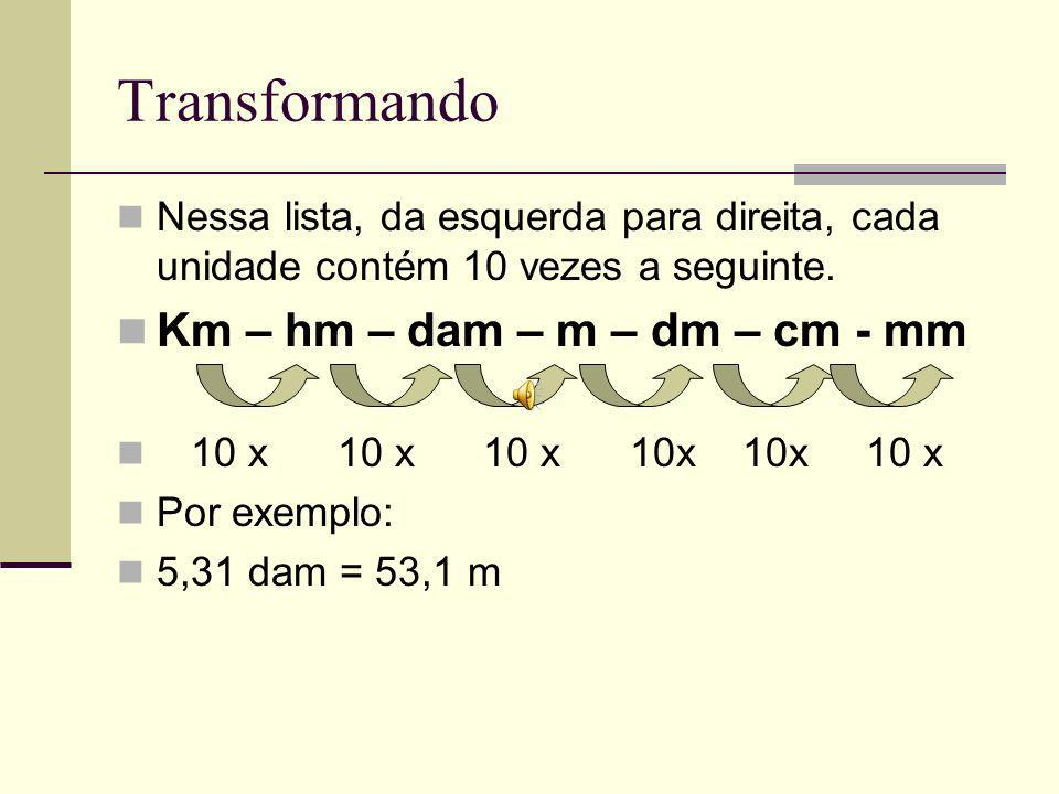 Transformando Km – hm – dam – m – dm – cm - mm