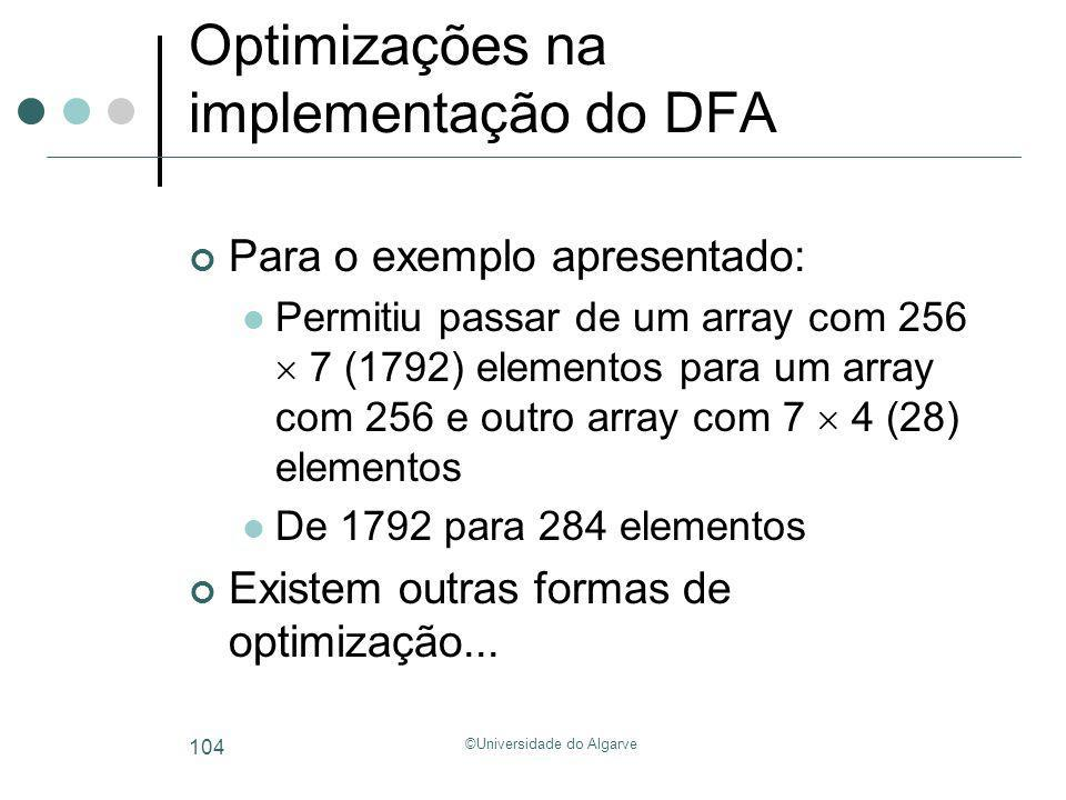 Optimizações na implementação do DFA