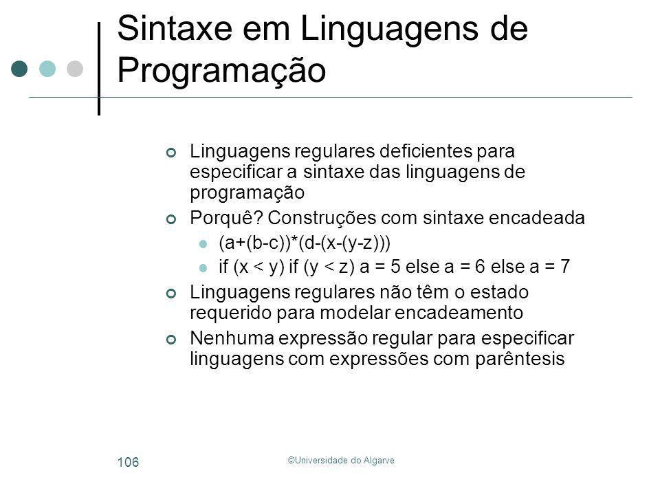 Sintaxe em Linguagens de Programação