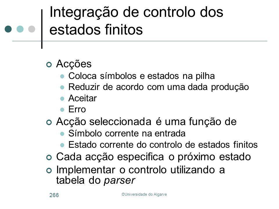 Integração de controlo dos estados finitos