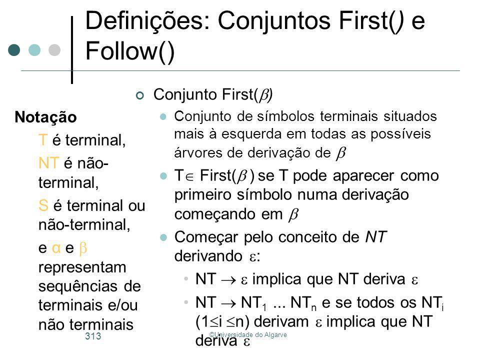 Definições: Conjuntos First() e Follow()