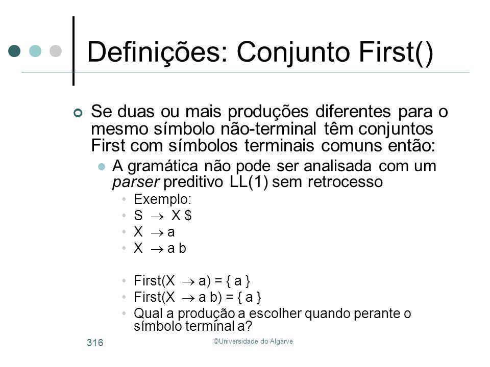 Definições: Conjunto First()