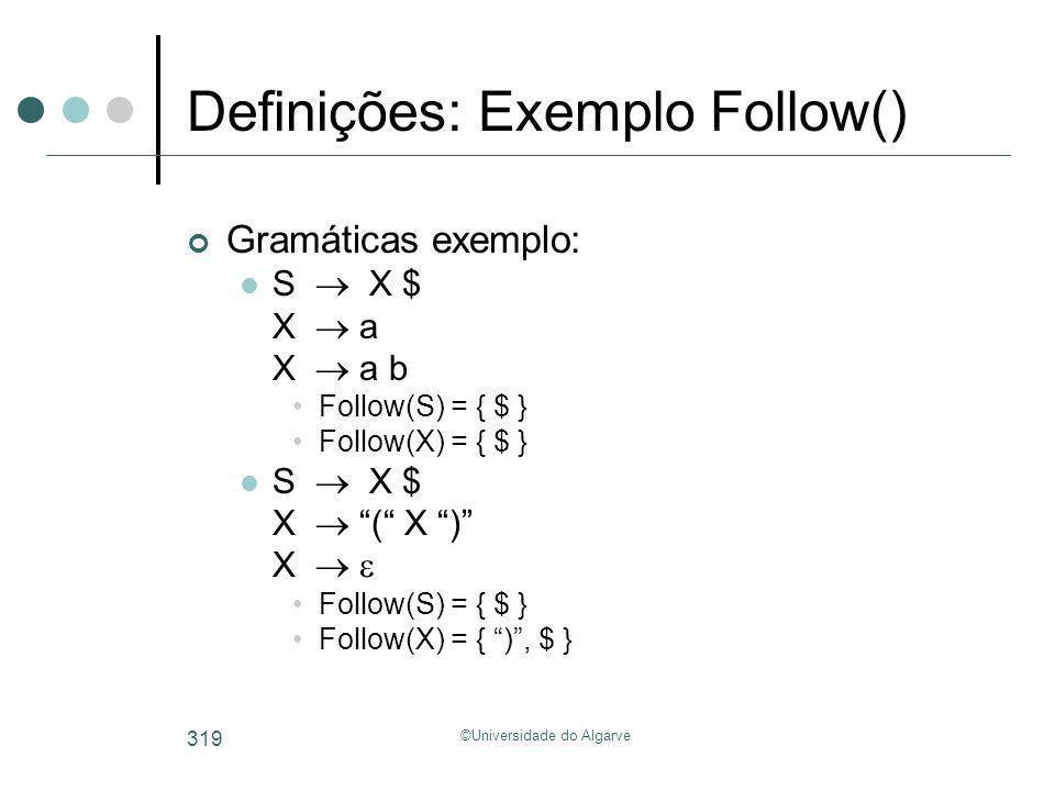 Definições: Exemplo Follow()