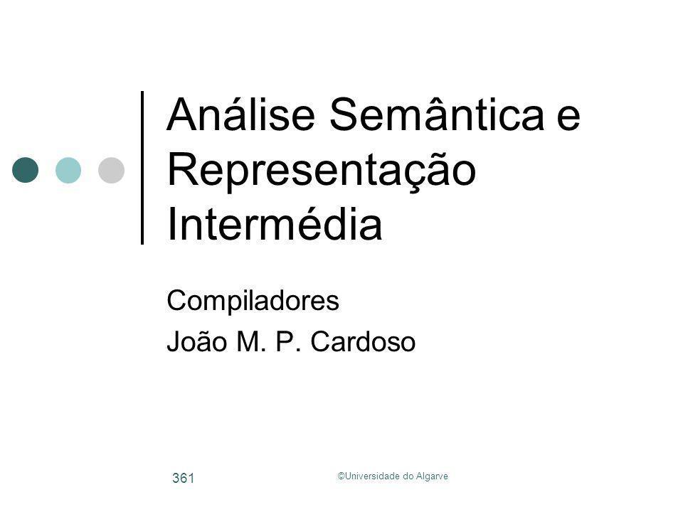 Análise Semântica e Representação Intermédia