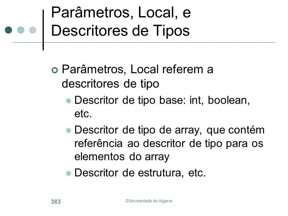 Parâmetros, Local, e Descritores de Tipos