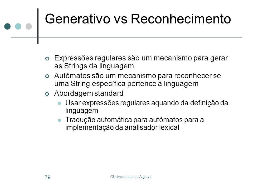 Generativo vs Reconhecimento