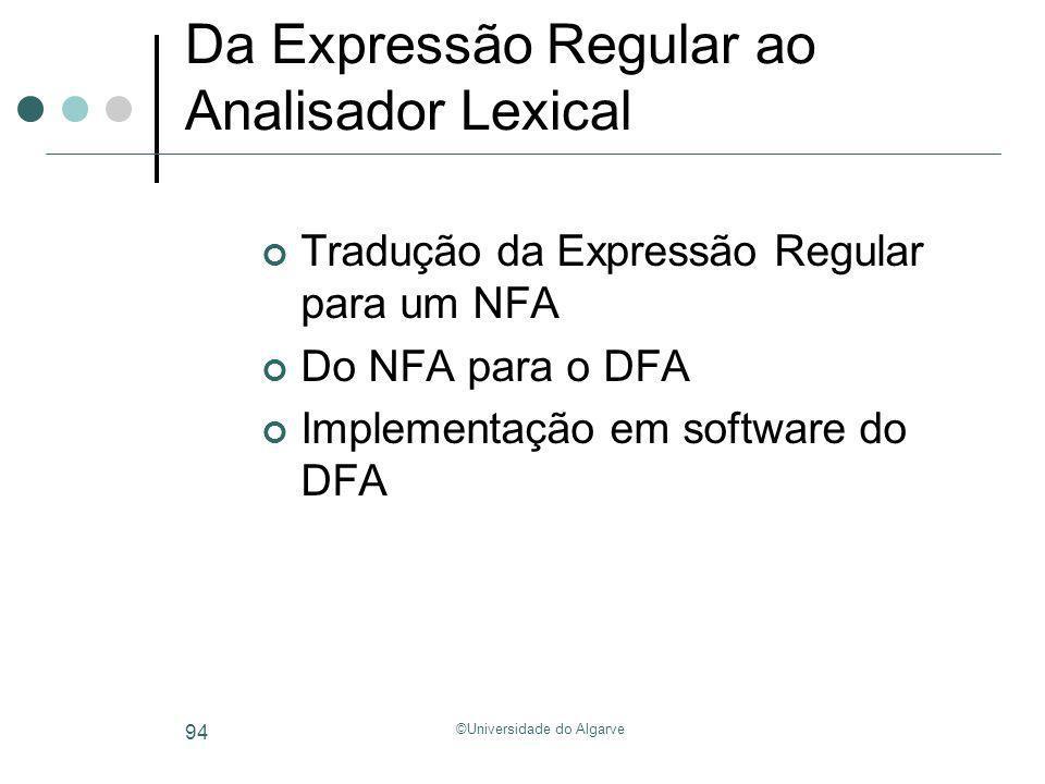 Da Expressão Regular ao Analisador Lexical
