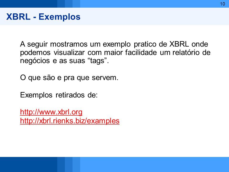 XBRL - Exemplos A seguir mostramos um exemplo pratico de XBRL onde podemos visualizar com maior facilidade um relatório de negócios e as suas tags .