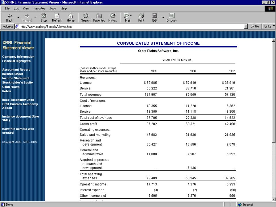 Here are the Great Plains Financial Statements in an XBRL format.