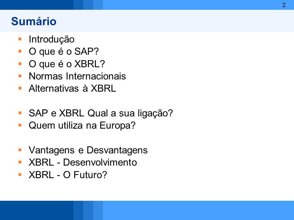 Sumário Introdução O que é o SAP O que é o XBRL