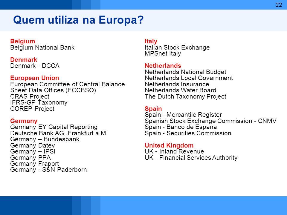 Quem utiliza na Europa