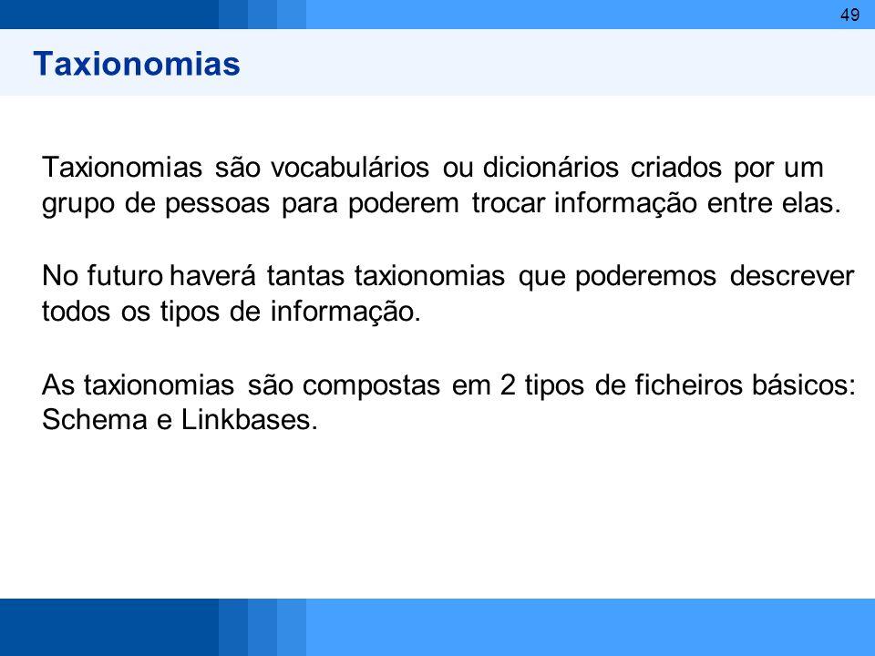 Taxionomias Taxionomias são vocabulários ou dicionários criados por um grupo de pessoas para poderem trocar informação entre elas.