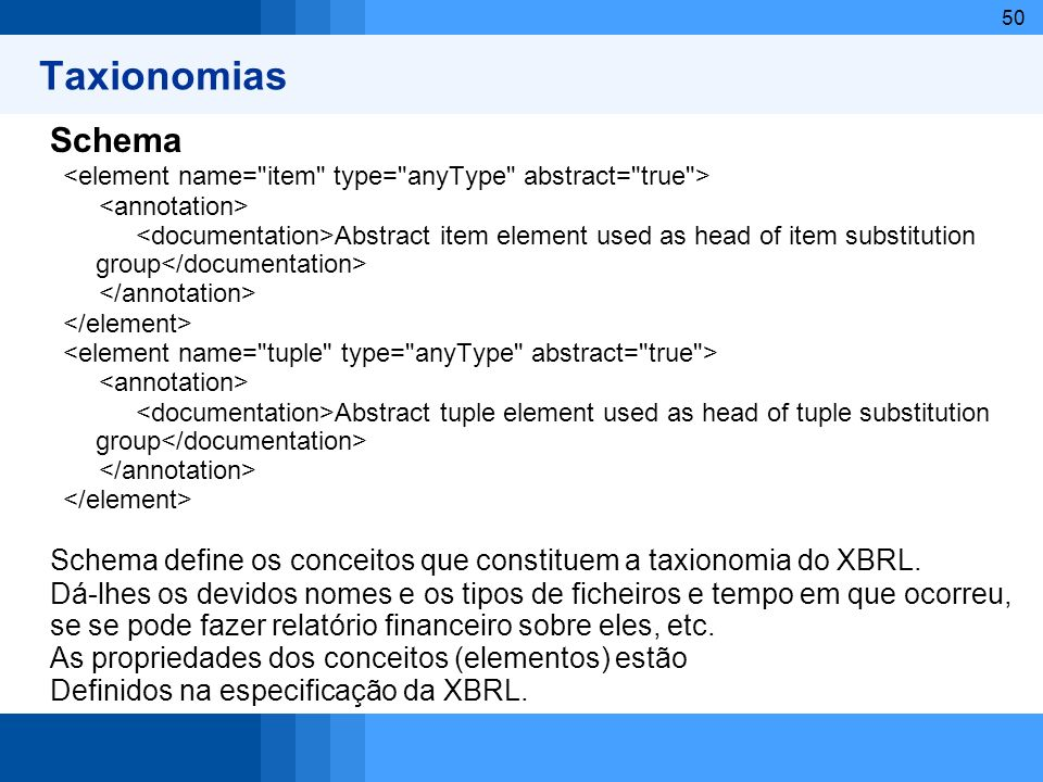 Taxionomias Schema. <element name= item type= anyType abstract= true > <annotation>