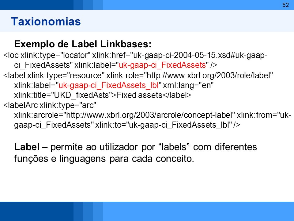 Taxionomias Exemplo de Label Linkbases: