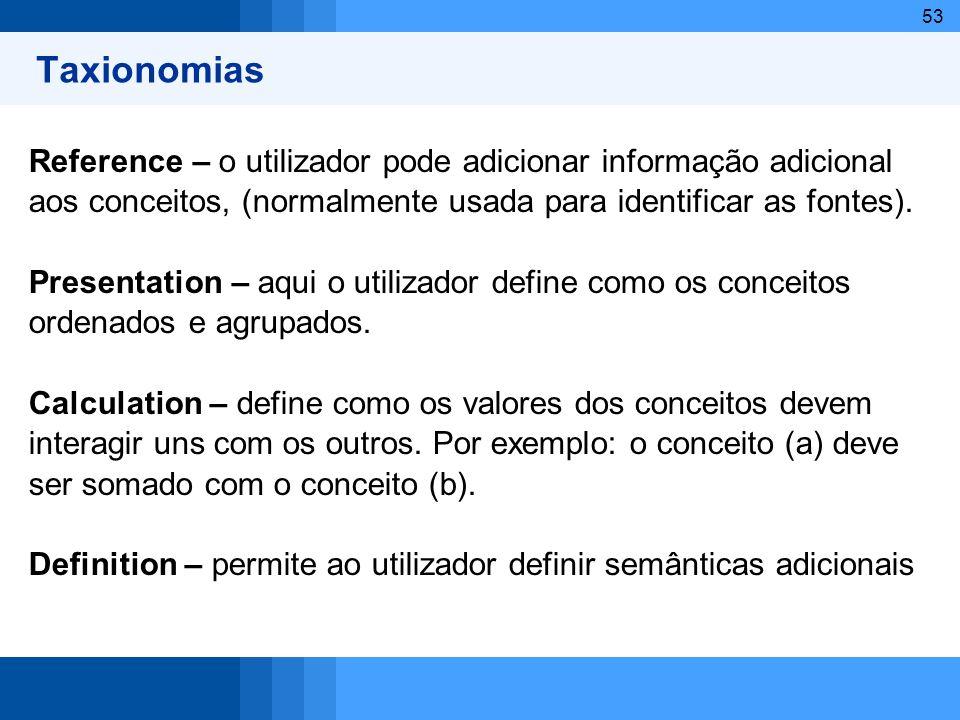 Taxionomias Reference – o utilizador pode adicionar informação adicional. aos conceitos, (normalmente usada para identificar as fontes).