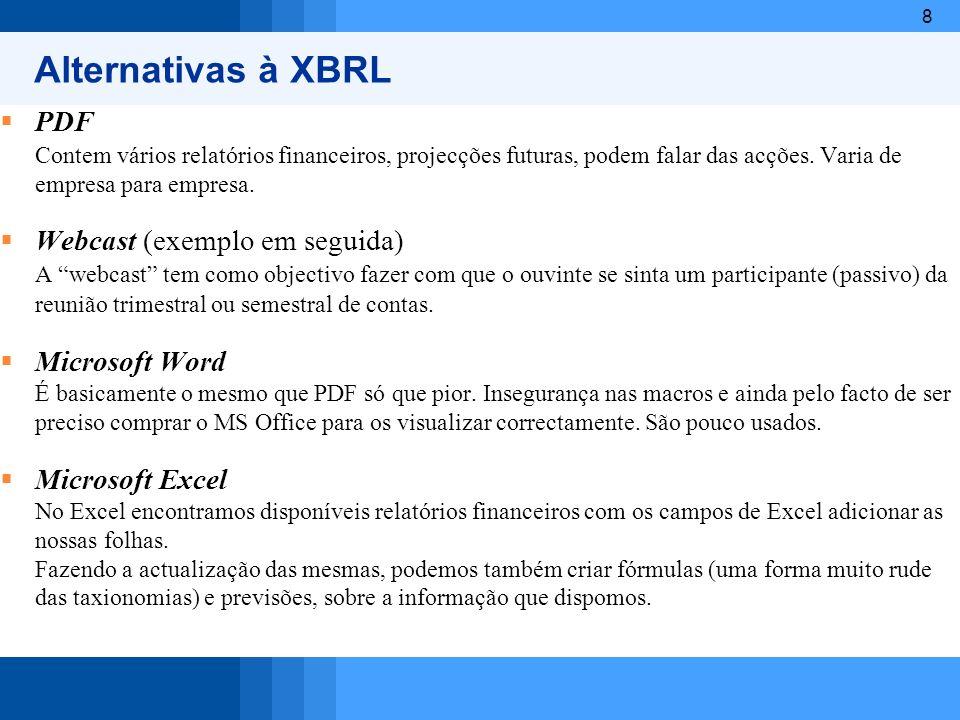 Alternativas à XBRL PDF Webcast (exemplo em seguida)