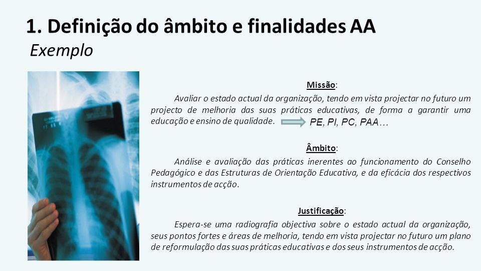 1. Definição do âmbito e finalidades AA Exemplo