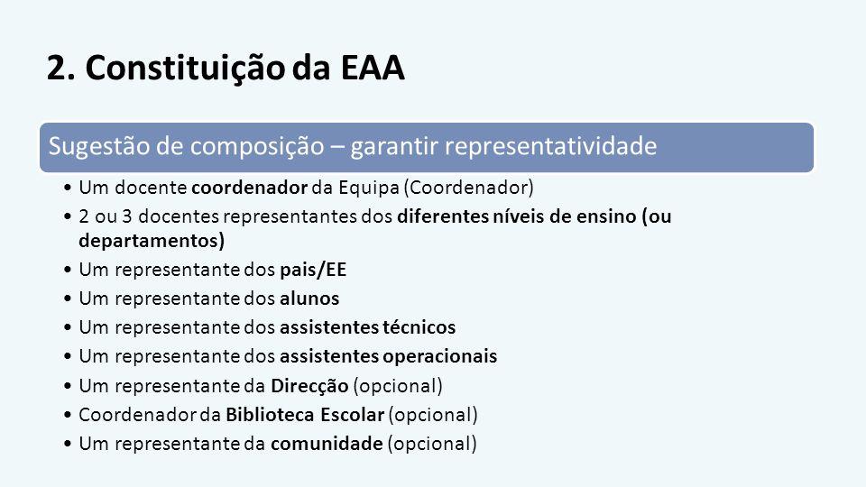 2. Constituição da EAA Sugestão de composição – garantir representatividade. Um docente coordenador da Equipa (Coordenador)