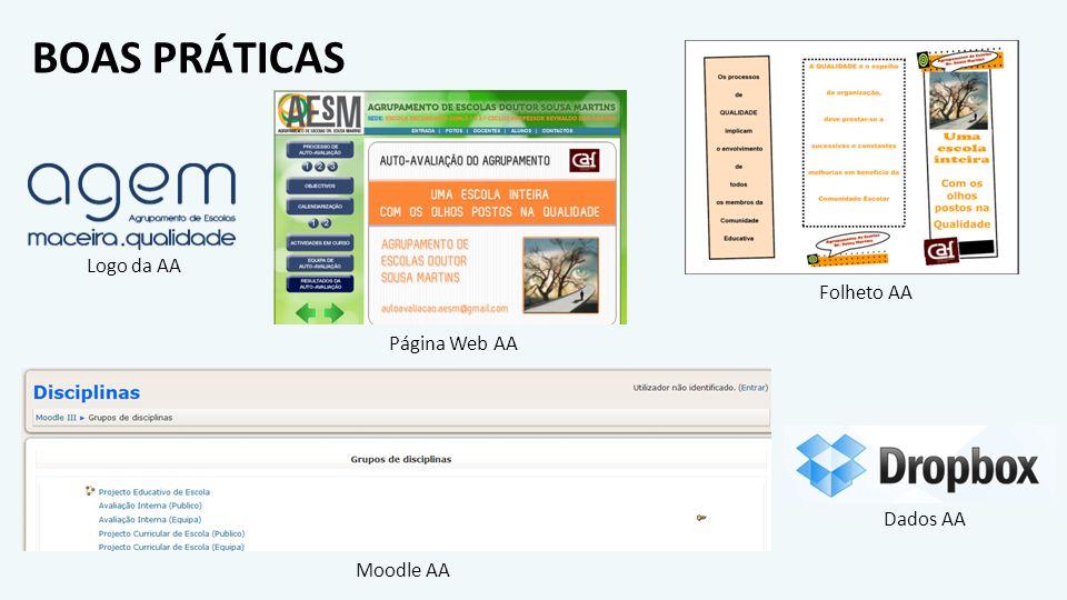 BOAS PRÁTICAS Folheto AA Página Web AA Logo da AA Moodle AA Dados AA