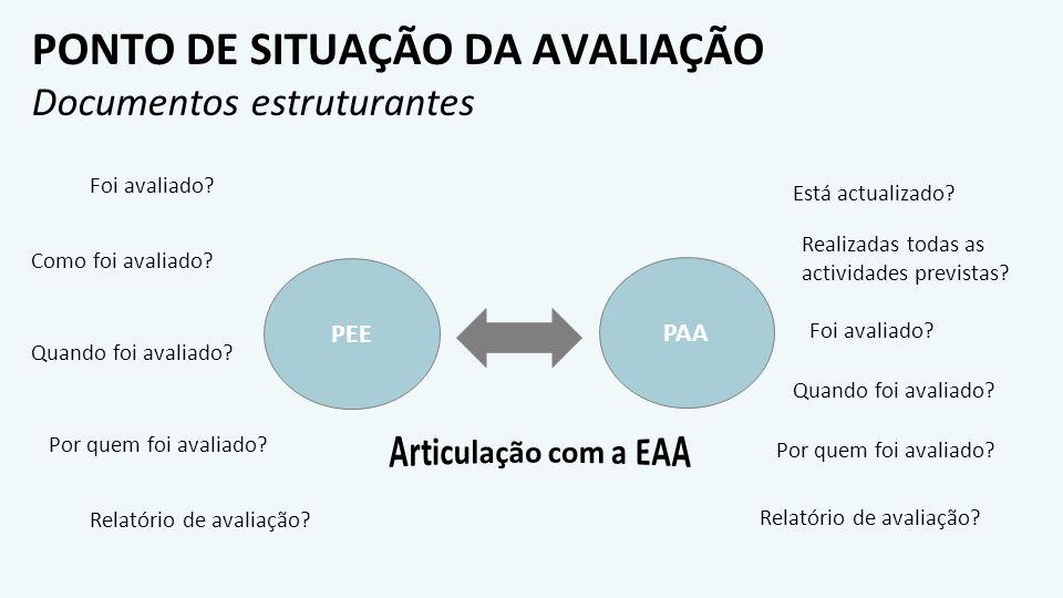 PONTO DE SITUAÇÃO DA AVALIAÇÃO Documentos estruturantes