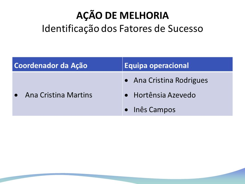 AÇÃO DE MELHORIA Identificação dos Fatores de Sucesso