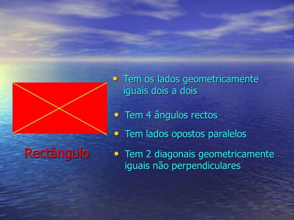 Rectângulo Tem os lados geometricamente iguais dois a dois