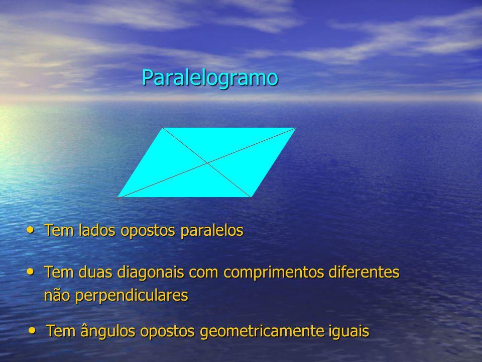 Paralelogramo Tem lados opostos paralelos