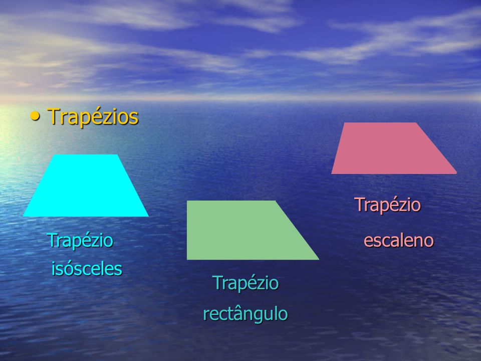 Trapézios Trapézio Trapézio escaleno isósceles Trapézio rectângulo