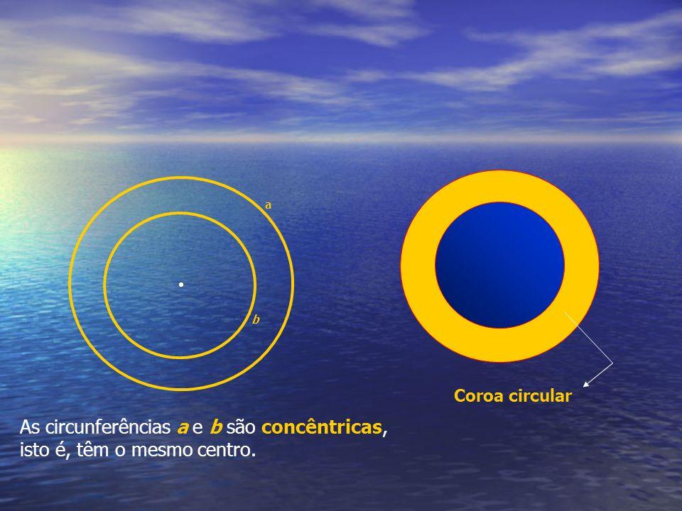 As circunferências a e b são concêntricas, isto é, têm o mesmo centro.